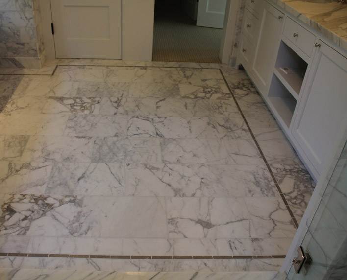 Bath Marble marble bathroom - bay area classic tile